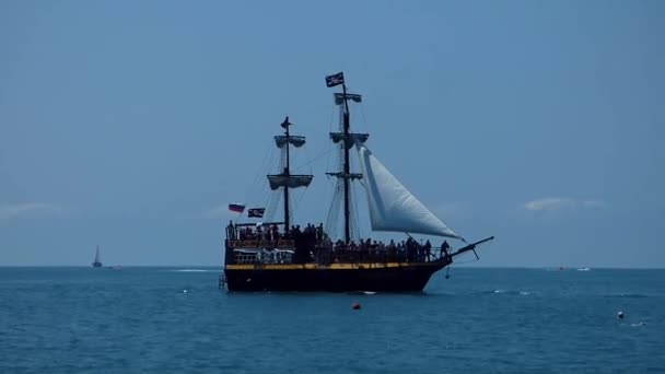 Stylizované pirátské lodi na moři