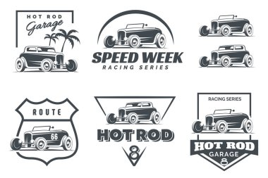 Set of Hot Rod logo, emblems and icons.