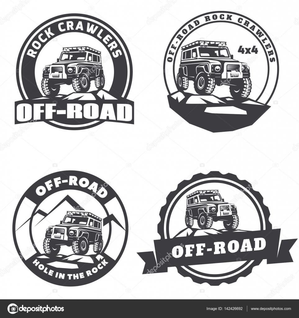 Set Of Off-road Suv Car Round Logo, Emblems And Badges