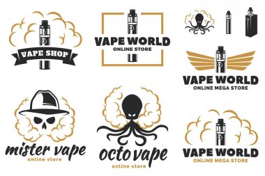 Set of vape, e-cigarette logo, emblems, and badges isolated on w