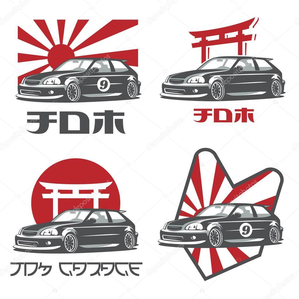 Stary japoński samochód logo, emblematów i odznaki ...