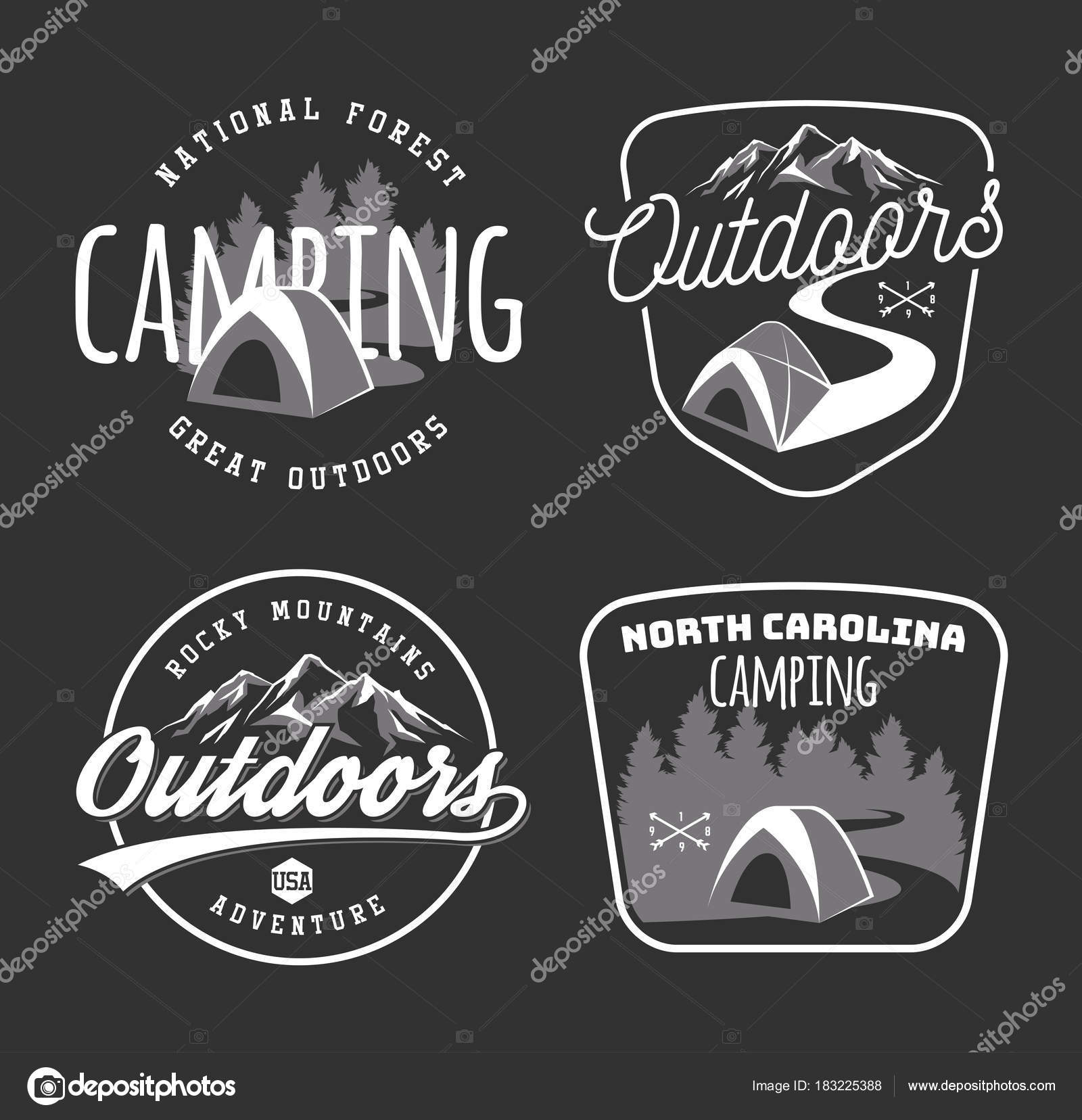 Set of vintage camping and outdoor adventure emblems