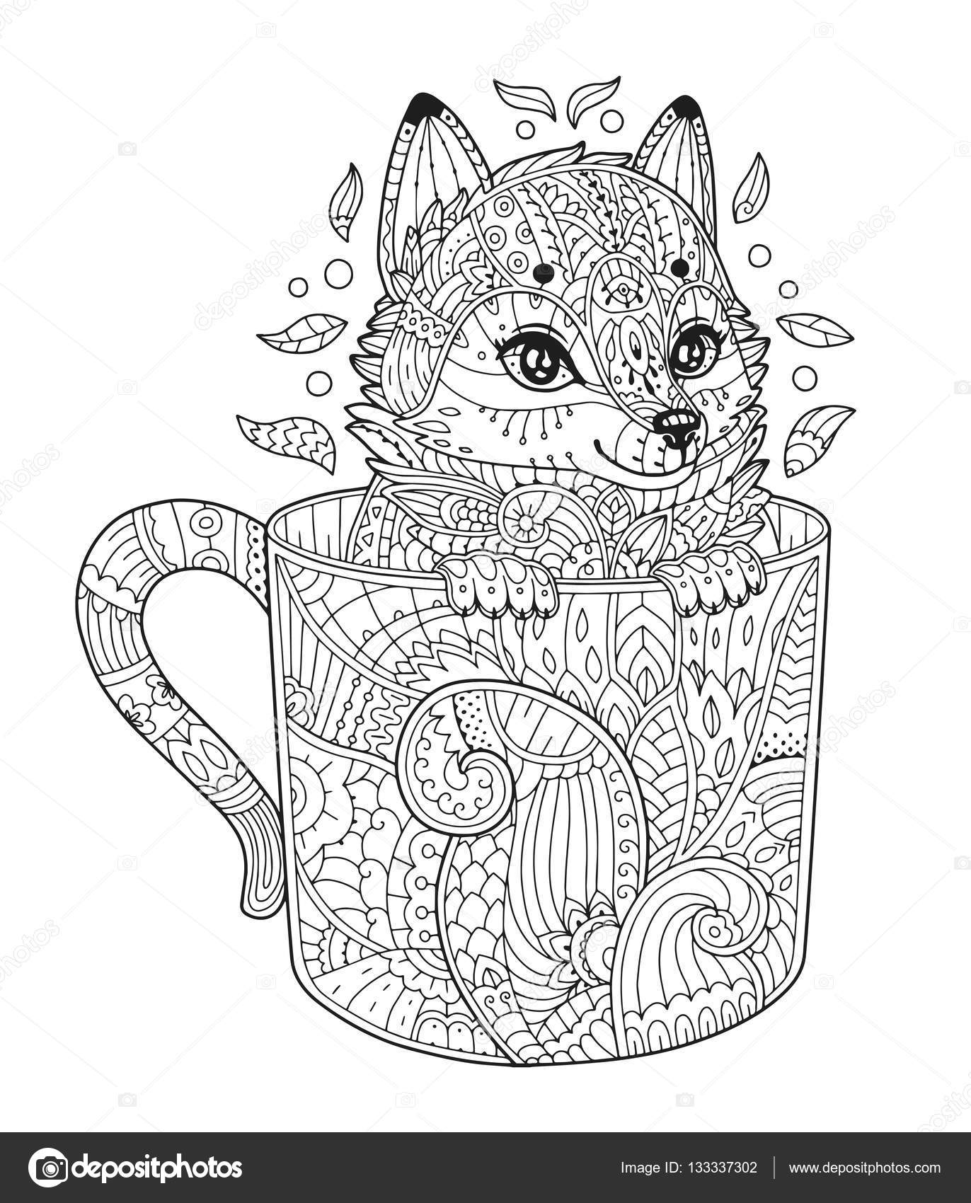 fox in cup coloring page u2014 stock vector ksania 133337302