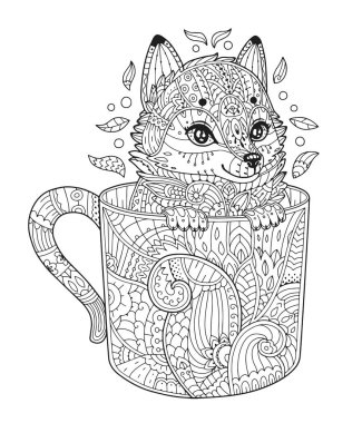 Fox in cup coloring page