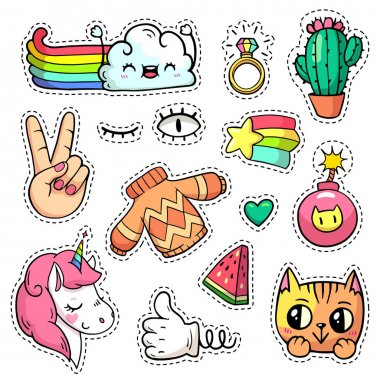 Colorful vector patch badges with animals, characters and things