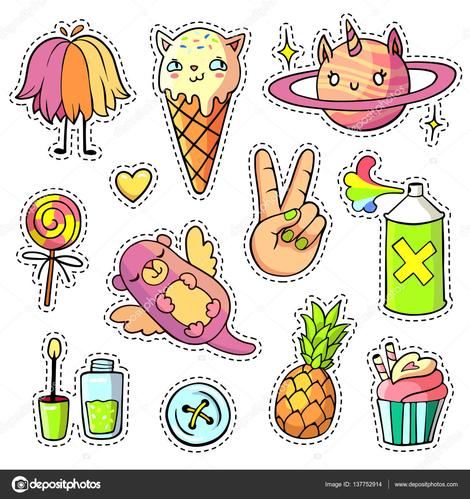 patch badges and pins with cartoon animals food and things stock