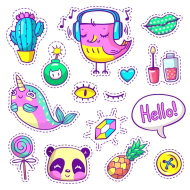 Neon hand-drawn stickers, pins in cartoon 80s-90s comics style