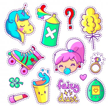 Vector crazy doodles with unicorn, teenage girl, roller skate etc.