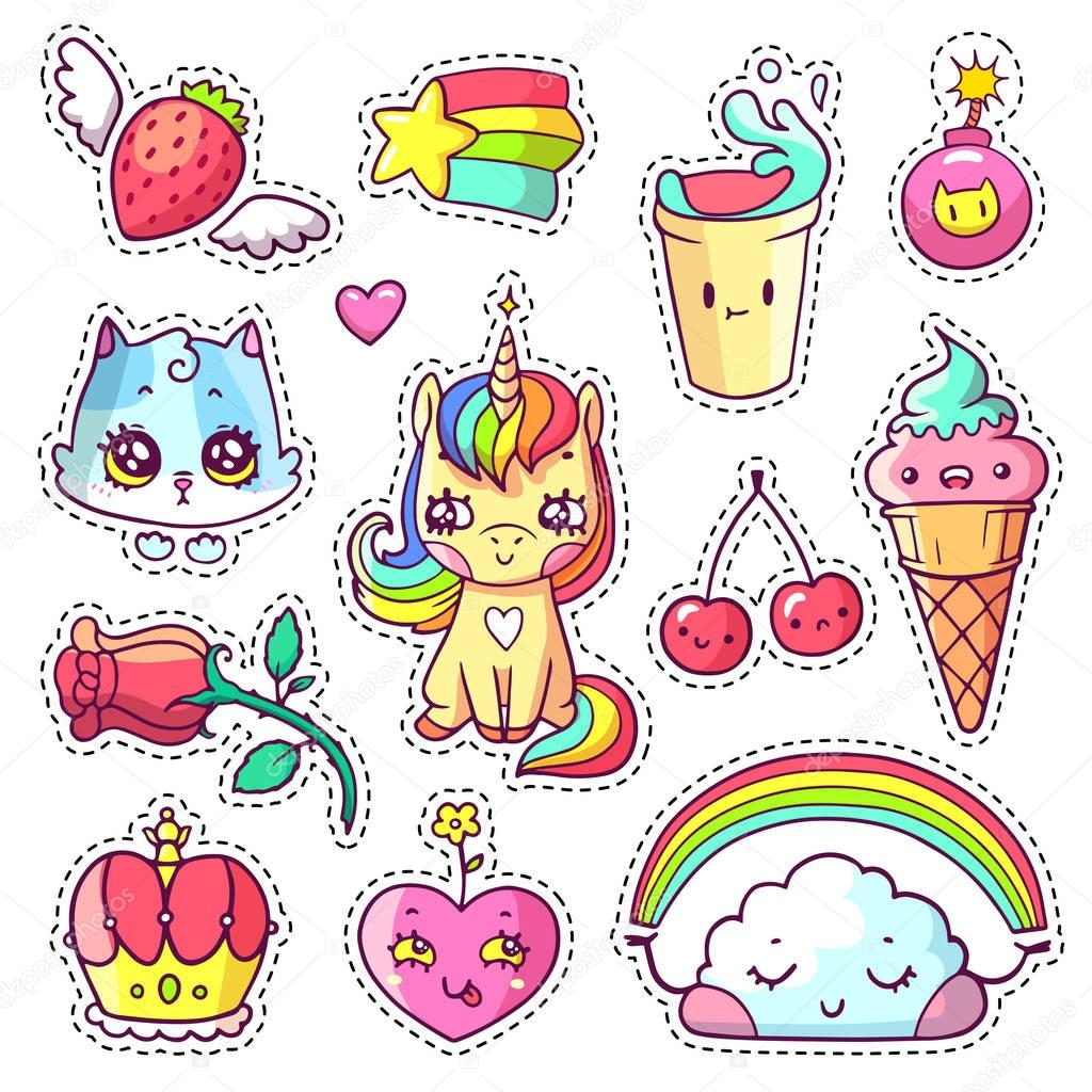 Cool girlish stickers set in 80s-90s pop art comic style