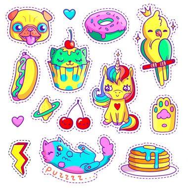 Neon stickers set in 80s-90s pop art comic style