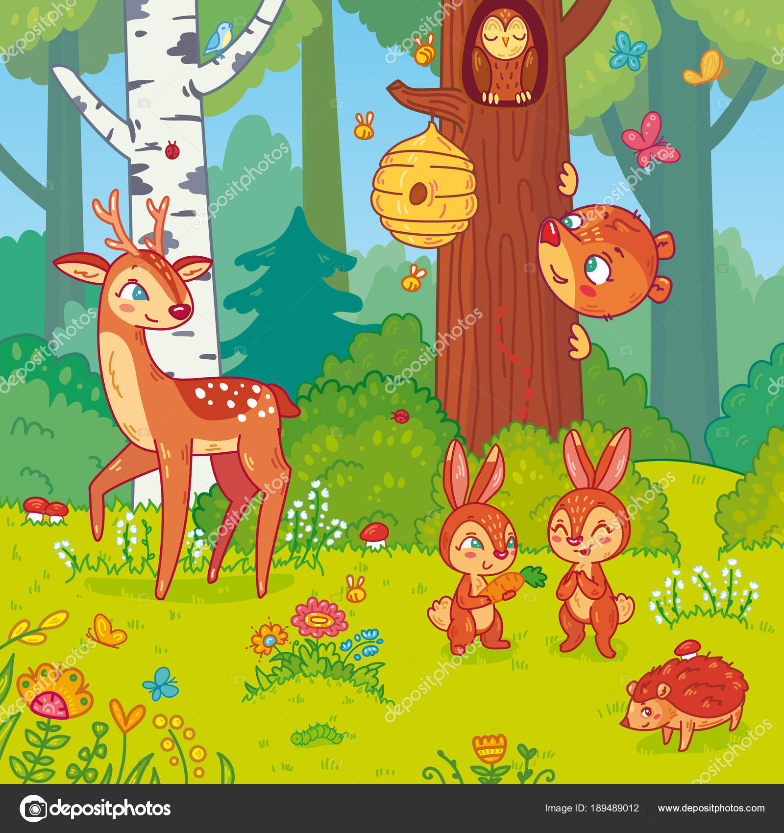 Illustrazione di vettore con gli animali della foresta