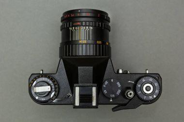 Black retro camera closeup