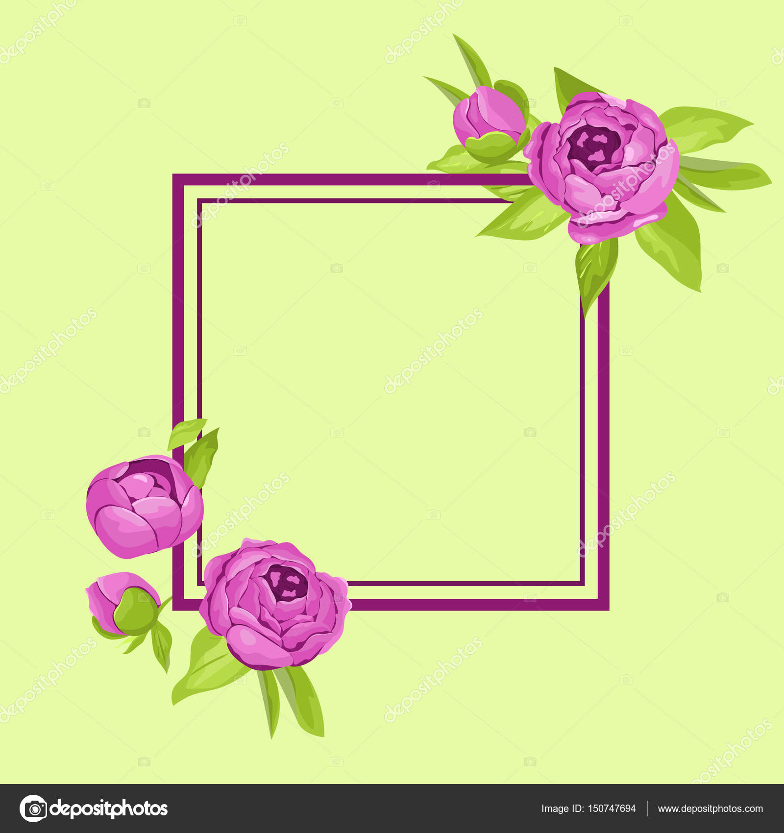 Purple vintage peonies around frame with copyspace for wedding ...