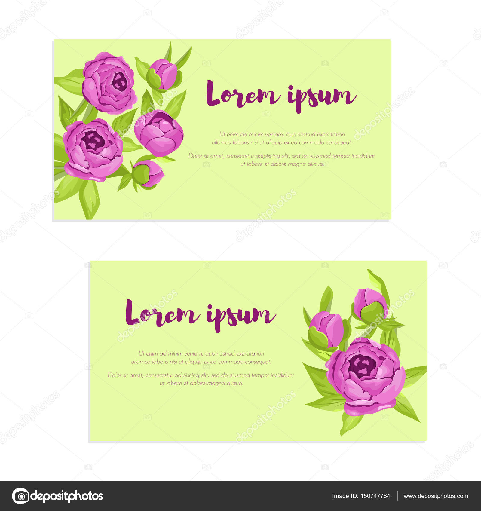 Set of abstract elegance cards with purple peonies for wedding set of abstract elegance cards with purple peonies for wedding invitation marriage card congratulation stopboris Image collections