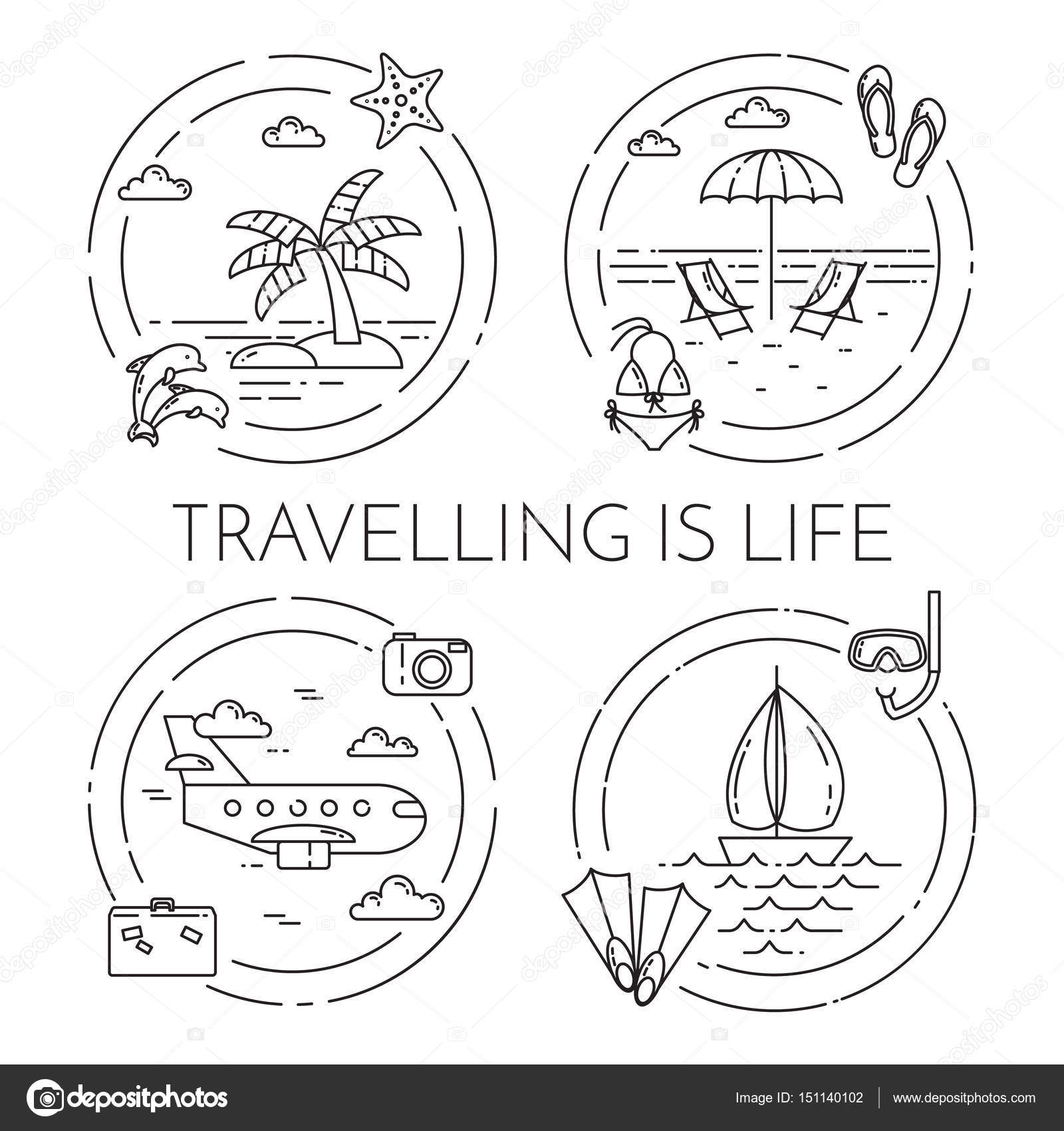 Set of Traveling horizontal banners with trip elements Line art