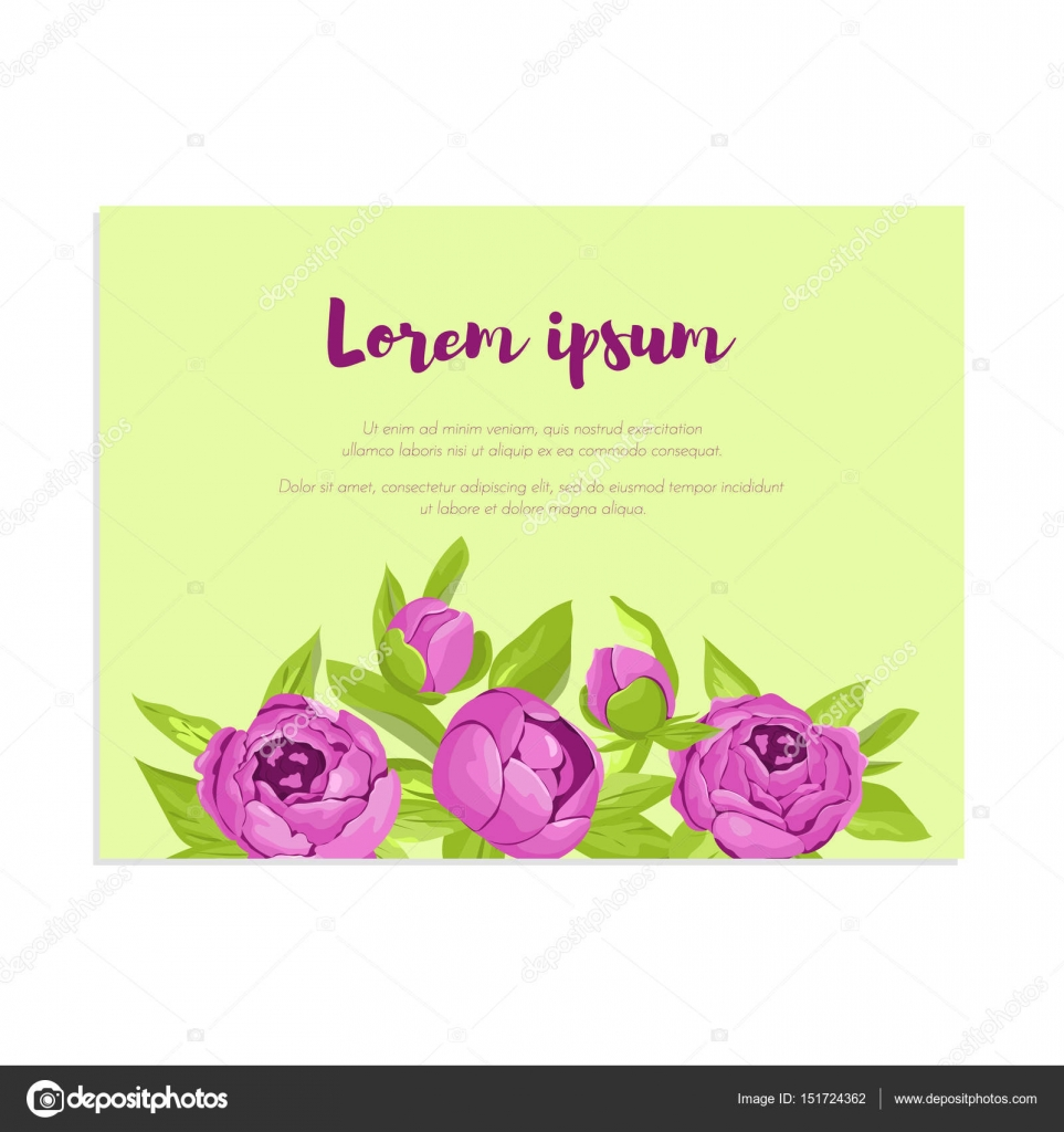 Abstract Elegance Card With Purple Peonies For Wedding Invitation