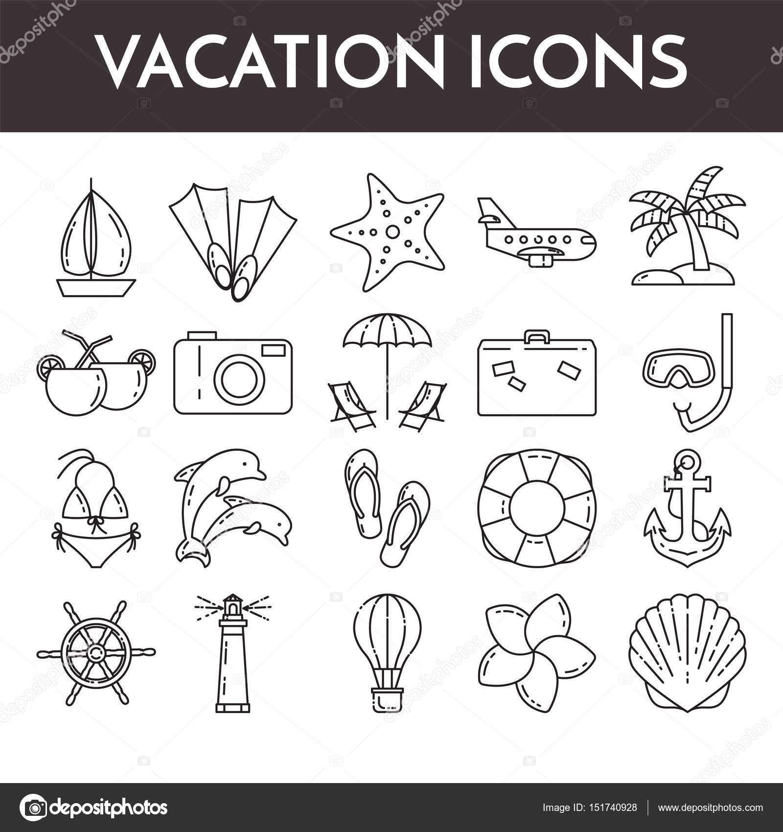 Set of thin line icons with vacation symbols traveling pictograms set of thin line icons with vacation symbols traveling pictograms for websites banners buycottarizona Choice Image