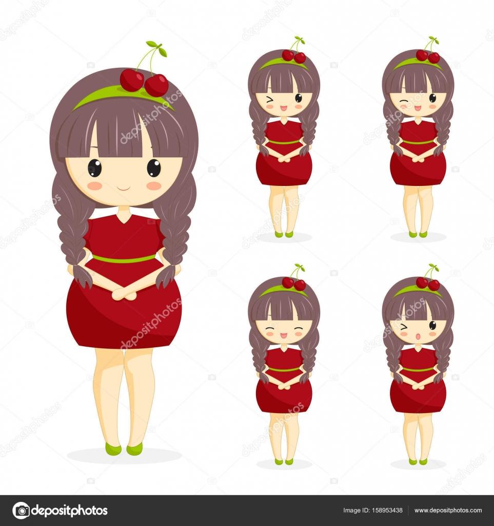 Juego De Las Chicas Kawaii Cute Vestido Cereza Con Decoracion En