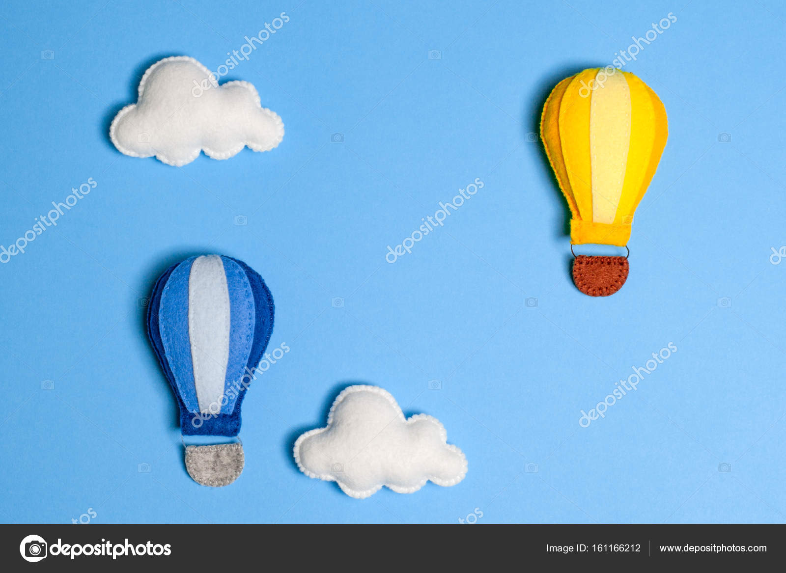 Hot Air Balloon In Blue Sky With Clouds Frame Copyspace Hand Made