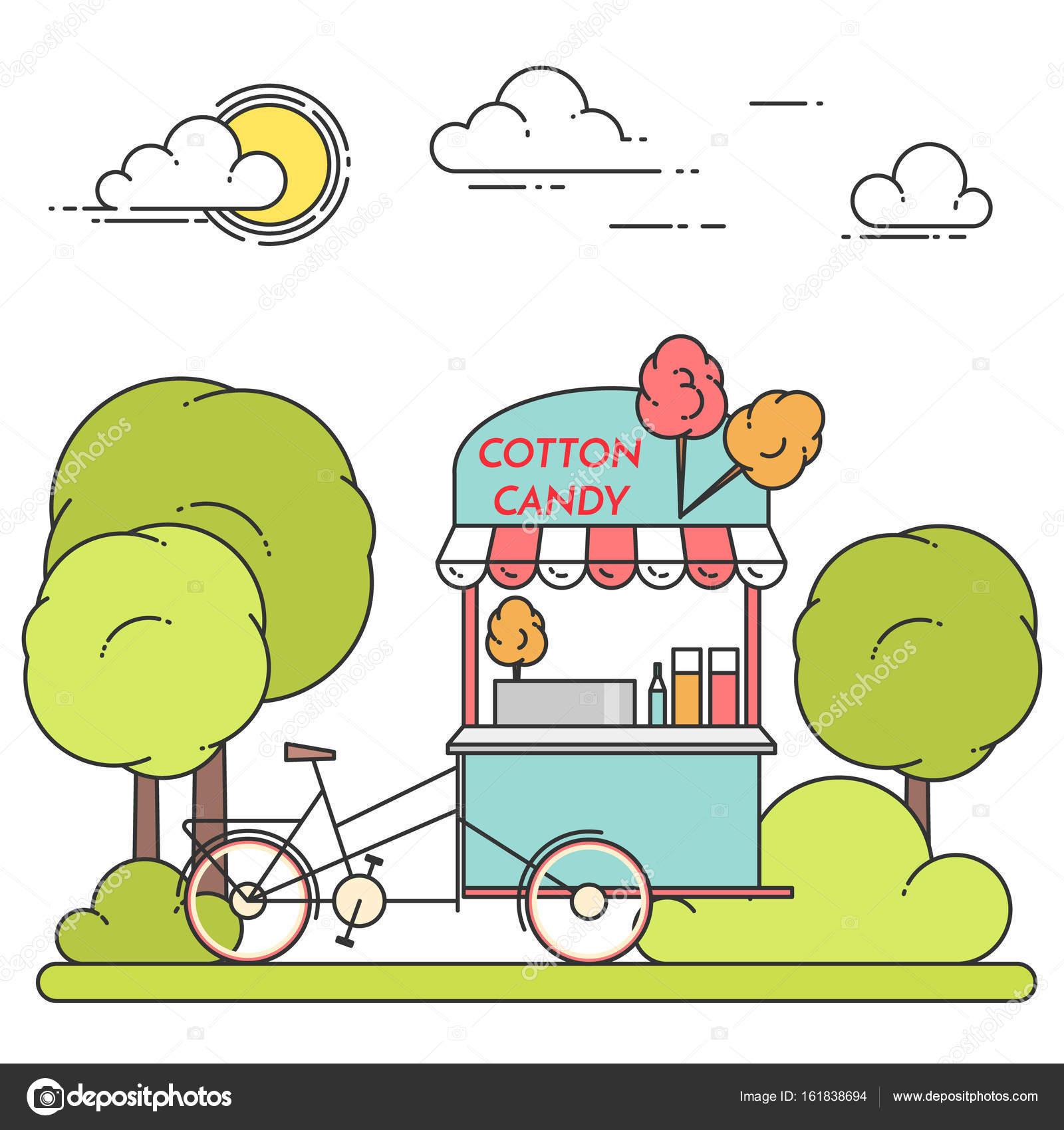 Paisaje de verano ciudad con bicicleta de algodón de azúcar en el ...