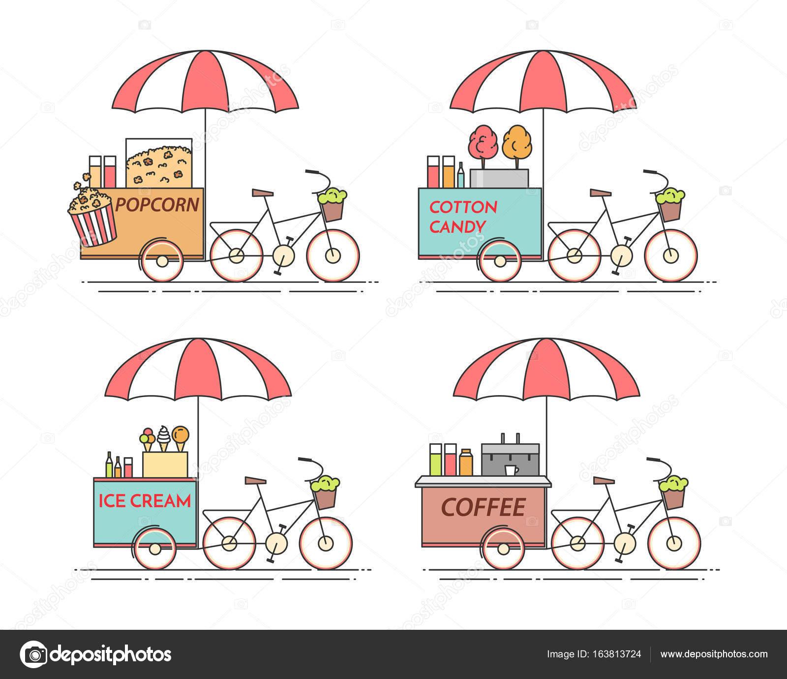 Elementos de la ciudad de café, palomitas, helados, algodón de ...
