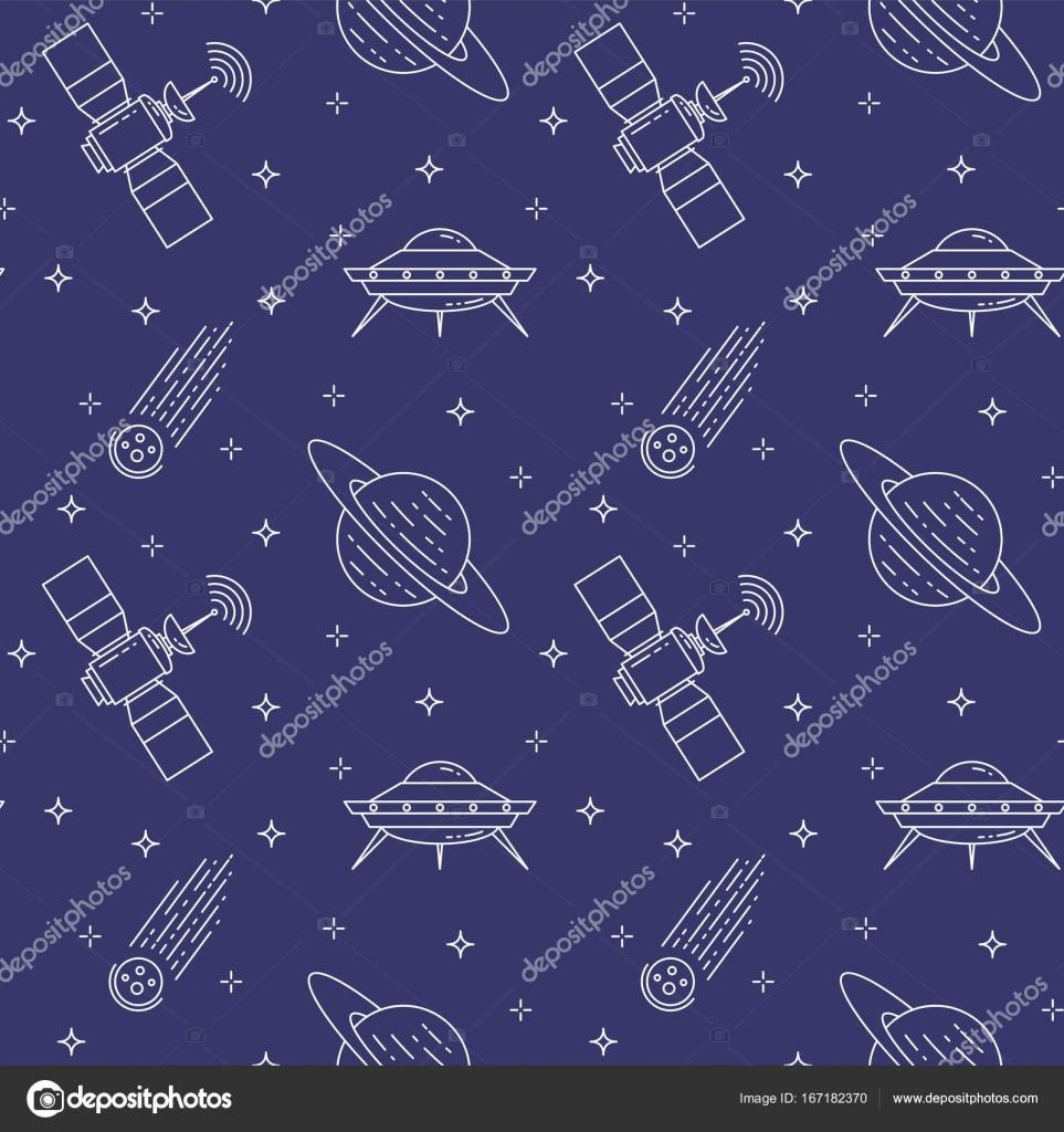 Iconos de línea de recorrido de espacio. Elementos de ufo, cometa ...