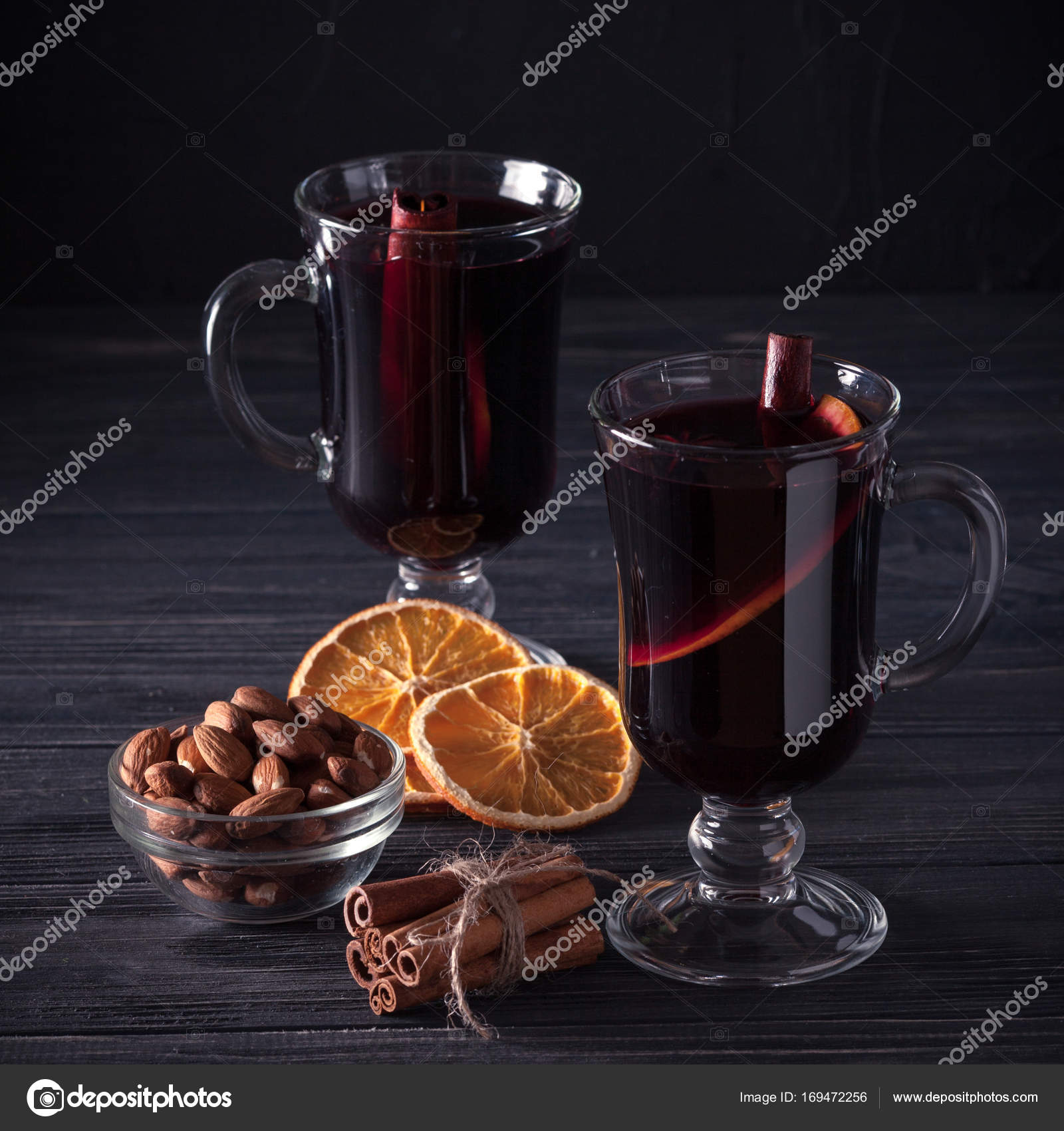 Mulled Wine Banner Glasses With Hot Red Wine And Spices On Dark Background Modern Dark Mood Style Stock Photo C Rojdesign 169472256