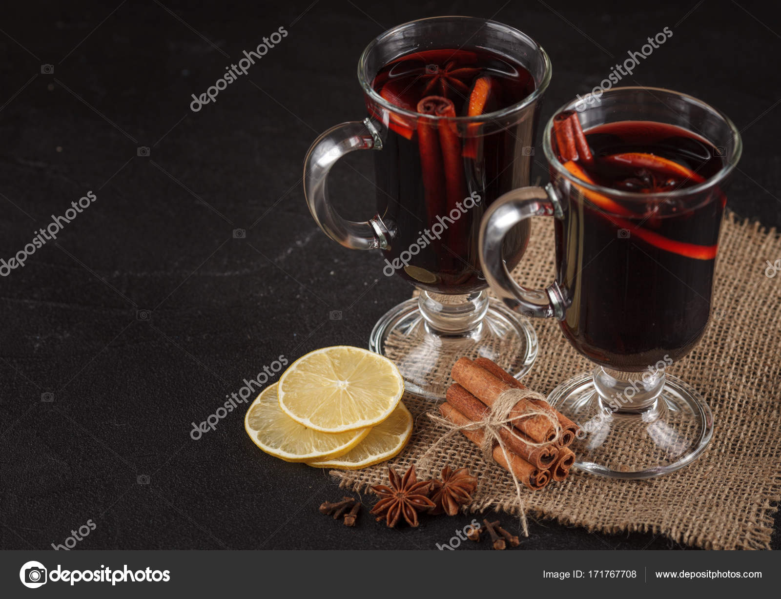Mulled Wine Banner Glasses With Hot Red Wine And Spices On Dark Background Modern Dark Mood Style Stock Photo C Rojdesign 171767708