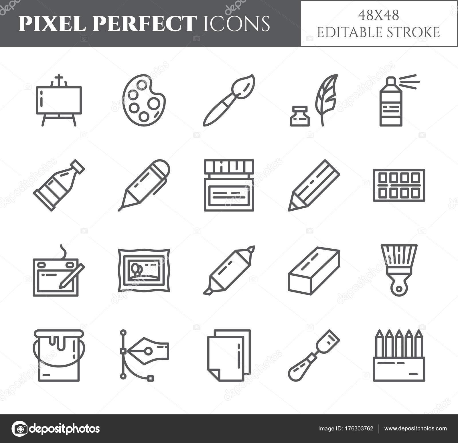 Icônes De Thème Pixel Parfait Fine Ligne Fournitures