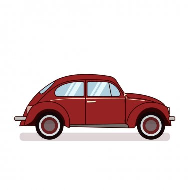 Red retro beetle car isolated on white background. Flat vector illustration. For gritting card, congratulation, banner, flyer