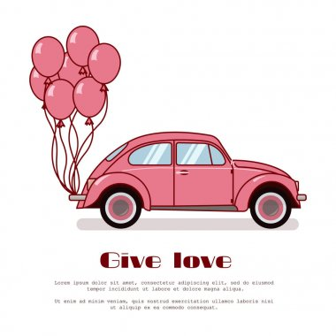 Pink retro beetle car with hot air balloons on trunk isolated on white background. Flat vector illustration. For birthday gritting card, valentine's day congratulation, banner, flyer