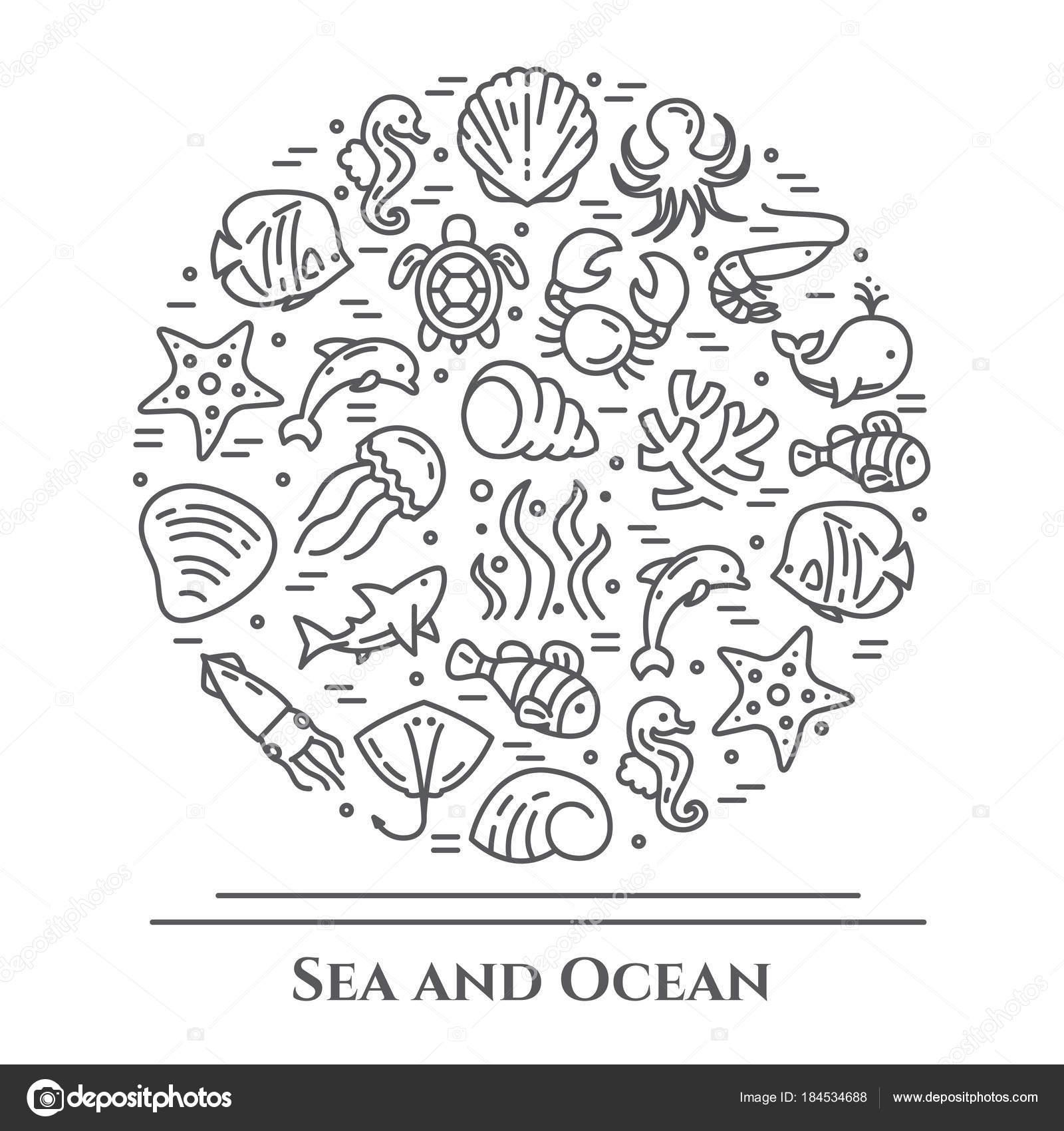 Bandera Marina tema blanco y negro. Pictogramas de los peces ...