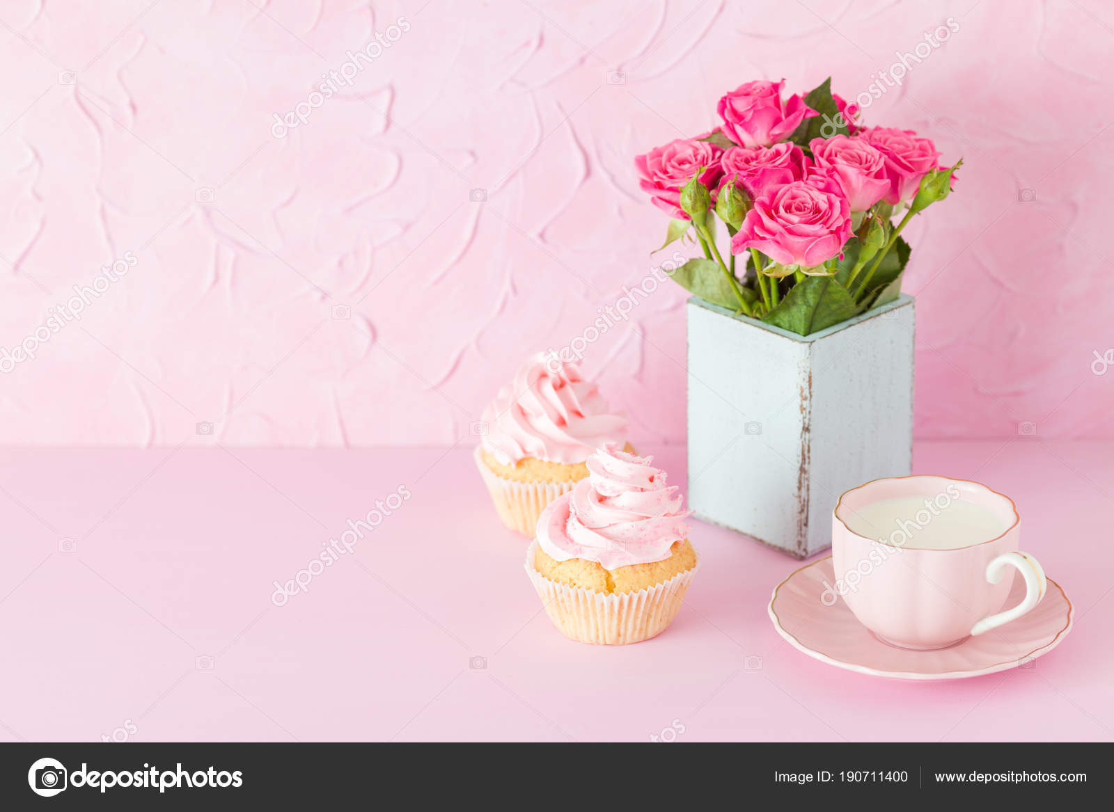 Pink pastel horisontal banner with decorated cupcakes, cup of coffe ...