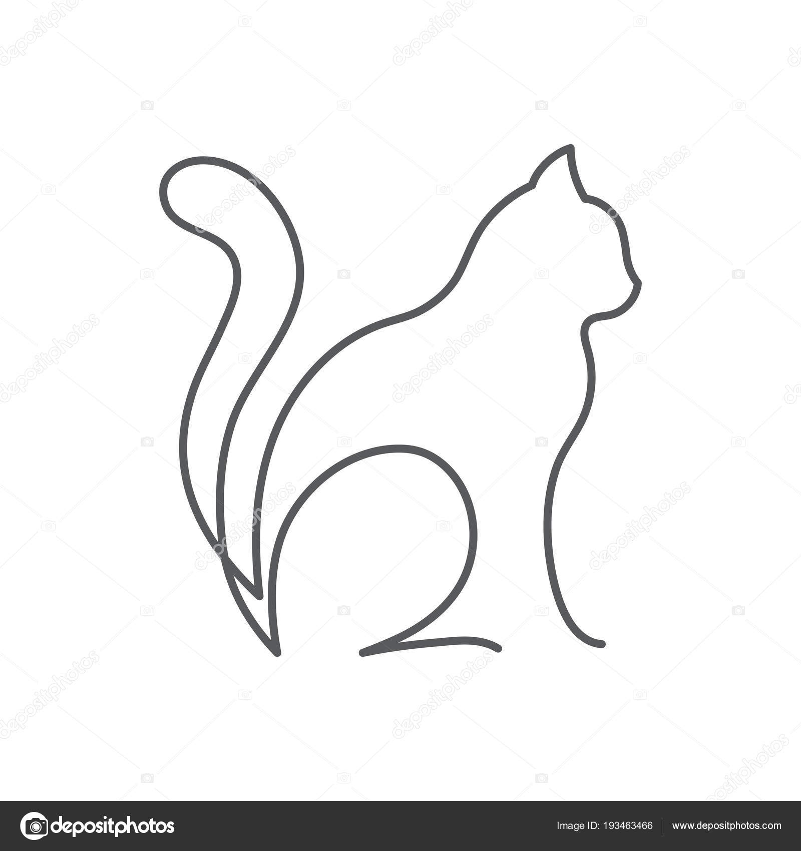 Dessin Au Trait Continu Chat Animal Mignon Est Assis Avec