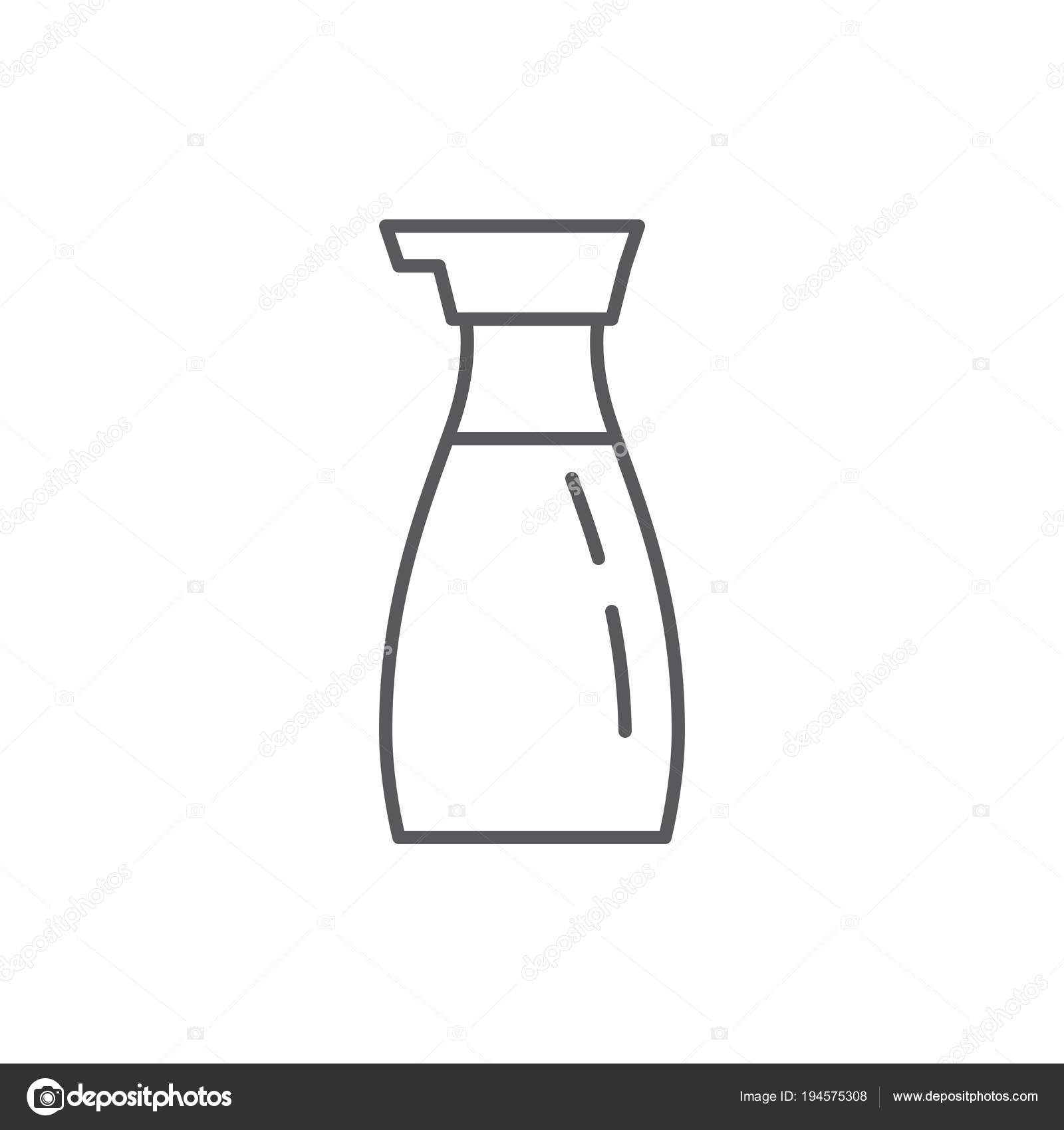 Soy Sauce In Bottle Editable Outline Icon Pixel Perfect Symbol Of