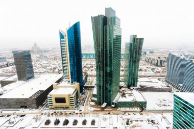 Top view of the office block in the center of Astana, Kazakhstan.