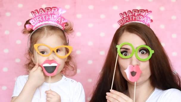Feliz Cumpleanos Madre E Hija Vestido Gafas Y Labios Y Diferentes