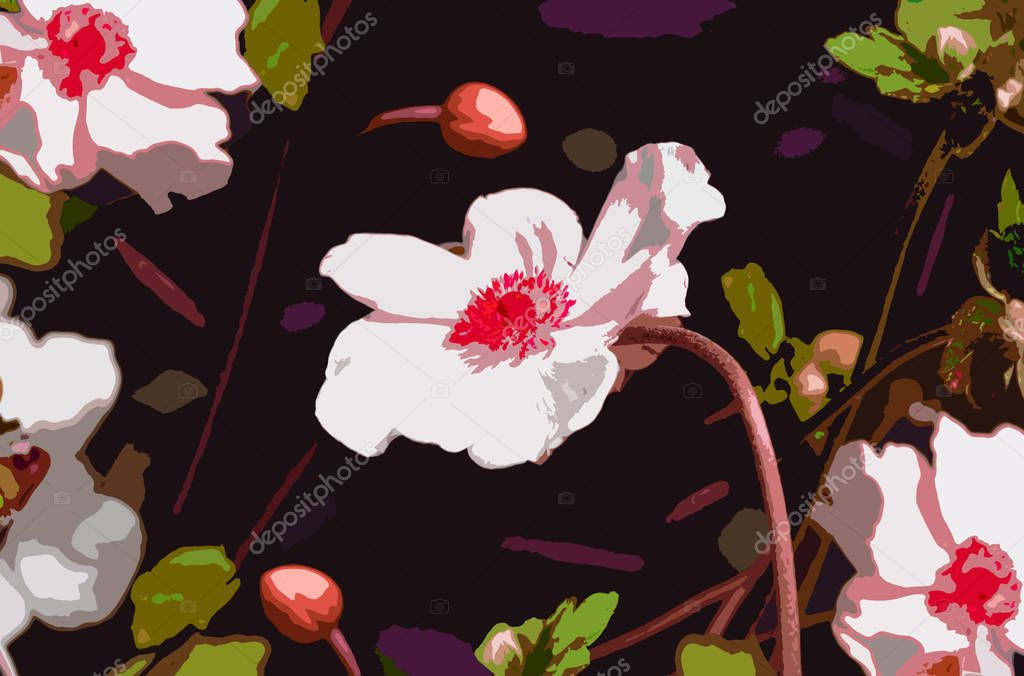 Pop-art style Anemone flowers