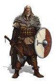 Bojovník s ax a štít