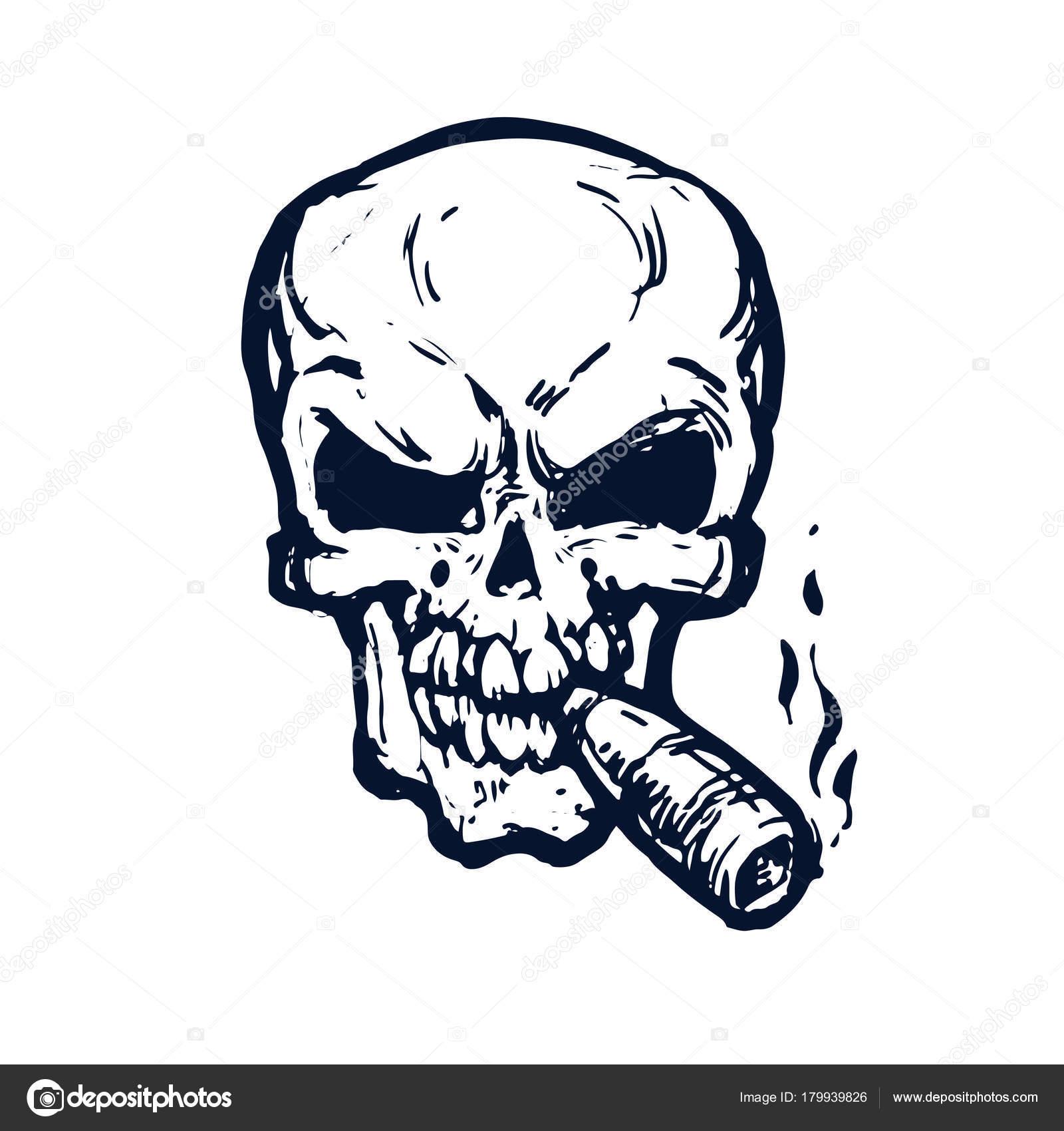 Schädel Mit Zigarre Raucht Skizze Auf Weißem Hintergrund Tinte ...