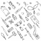 Collection of medical instruments - syringe, scalpel, medicine, pills, tweezers, badge, gloves, medical mask, patch, scissors, thermometer, test tube. Hand drawn doodle set. Outline inking isolated.