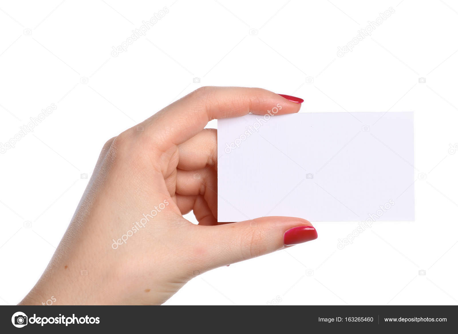 Female hand holding a blank business card — Stock Photo ...