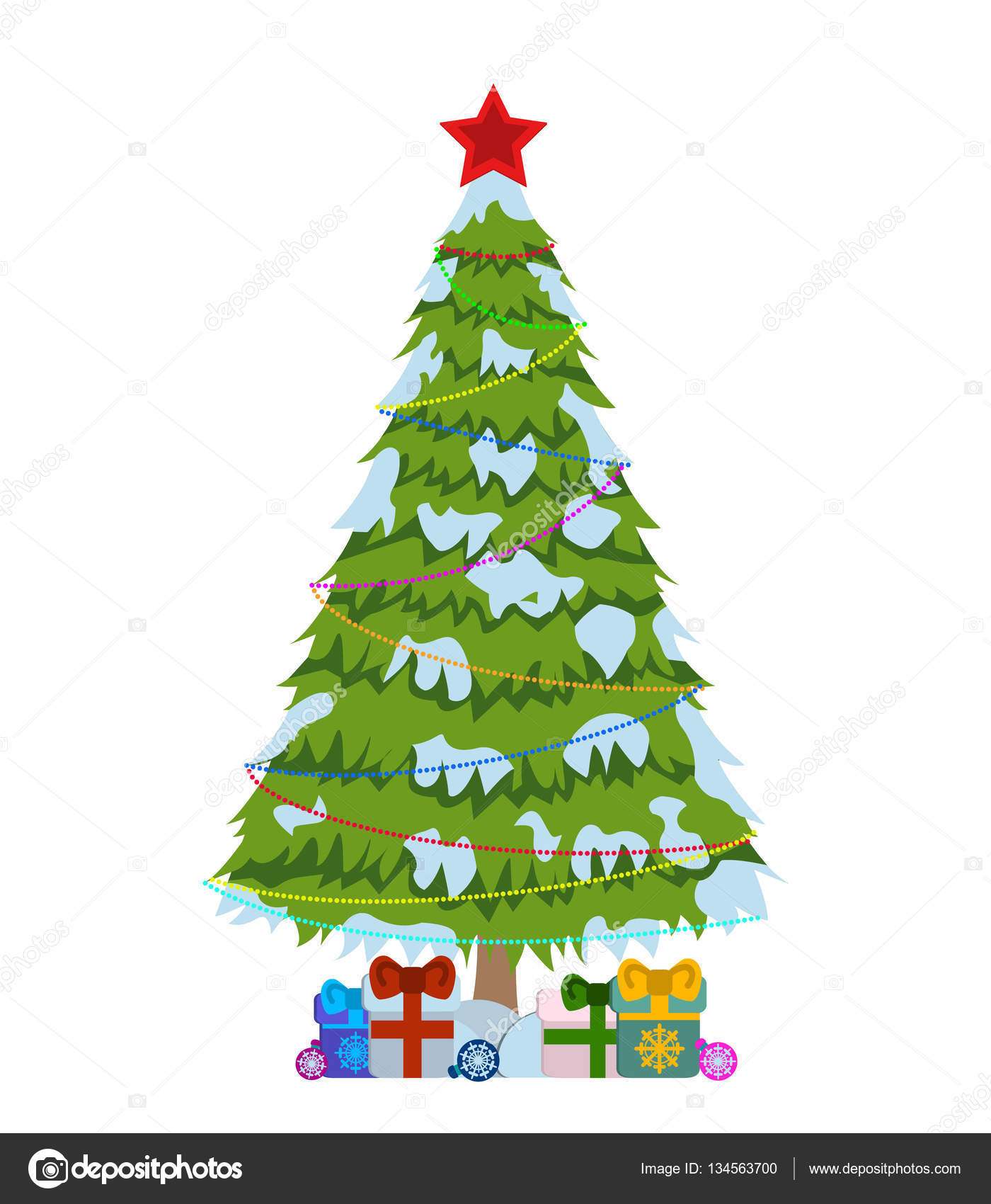 Merry Christmas tree sign on white background. Pine tree with ...