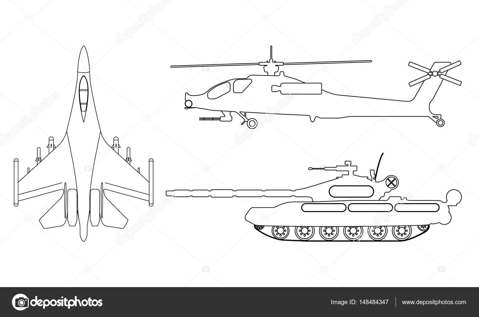 Aviones de combate, el tanque, el contorno del helicóptero. Equipo ...