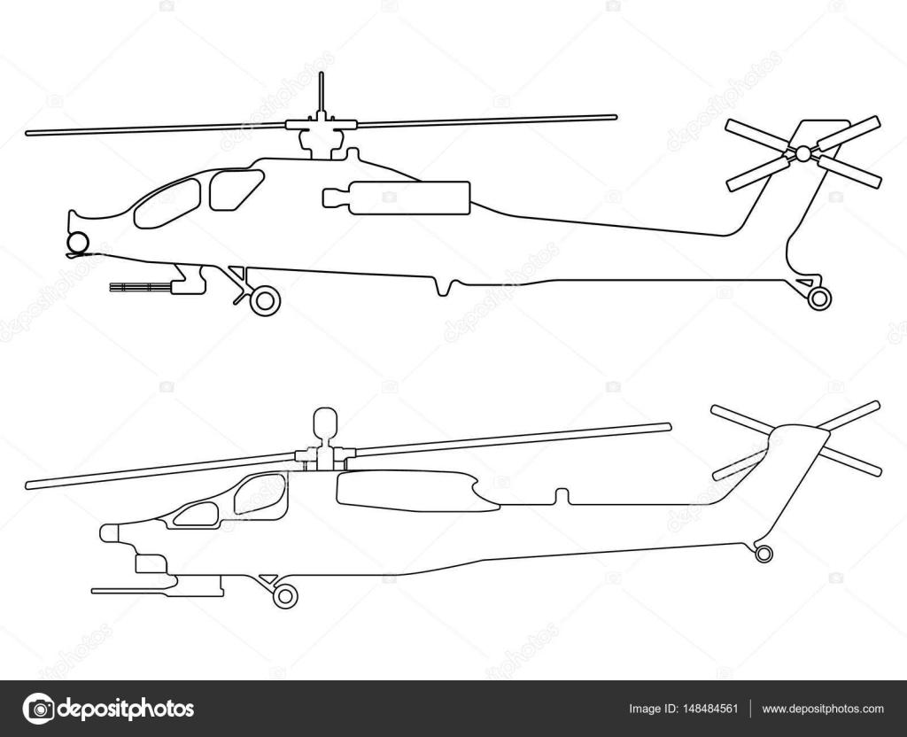 Esquema del helicóptero. Icono de equipo militar. Ilustración de ...