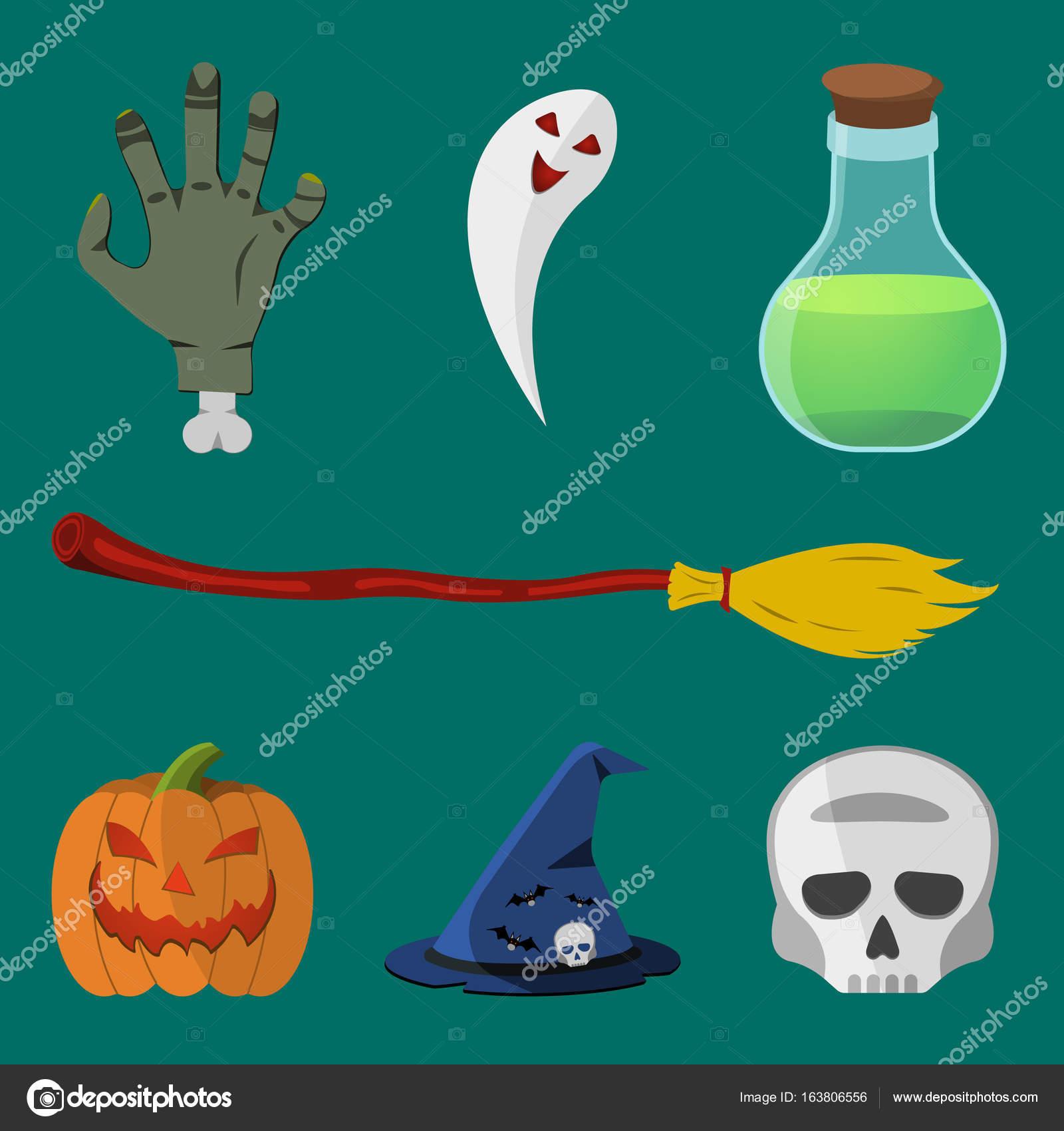 Sada ikon Halloween karikatura. Dýně 2e5f1f211e
