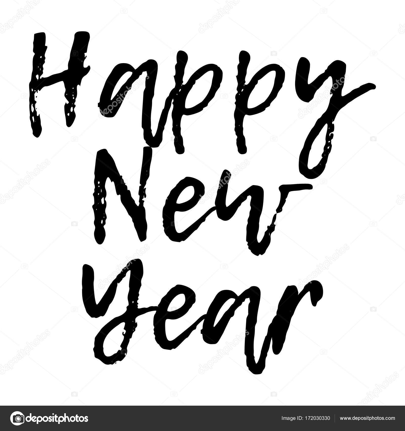 Lustige Weihnachtskarte mit Kalligraphie frohes neues Jahr. Vorlage ...