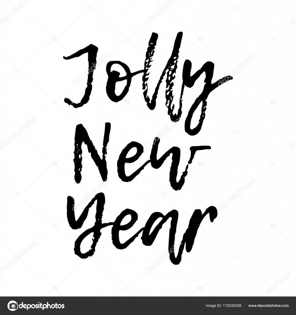 Lustige Weihnachtskarte mit Kalligraphie Jolly Neujahr. Vorlage für ...