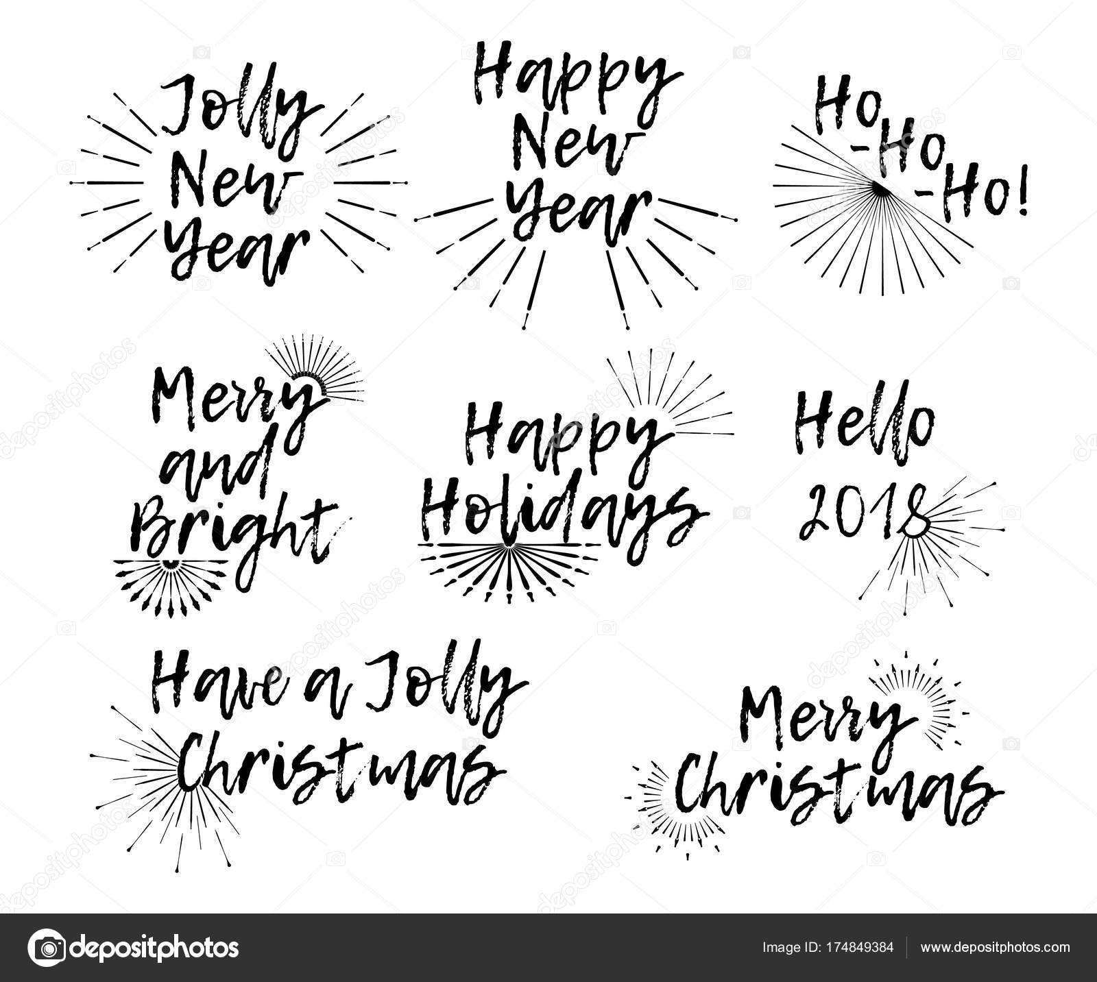 Set of merry christmas card with calligraphy text and sunburst template for greetings congratulations housewarming posters invitations photo overlays vector illustration vector by apvaper kristyandbryce Image collections