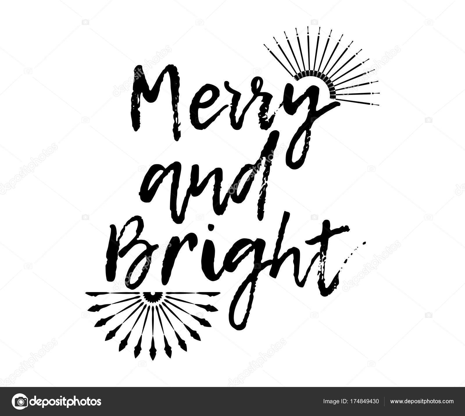 Lustige Weihnachtskarte mit Sunburst und Kalligraphie fröhlich und ...